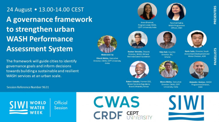 World Water Week Session -  A Governance Framework to Assess Urban Water and Sanitation Services