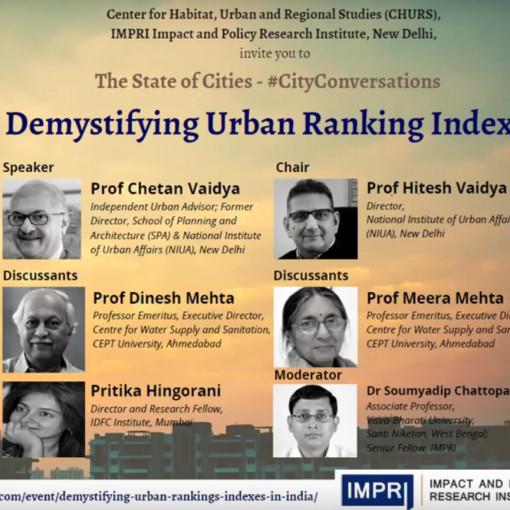 Prof. Dinesh Mehta and Prof. Meera Mehta at webinar on Demystifying Urban Ranking Indexes
